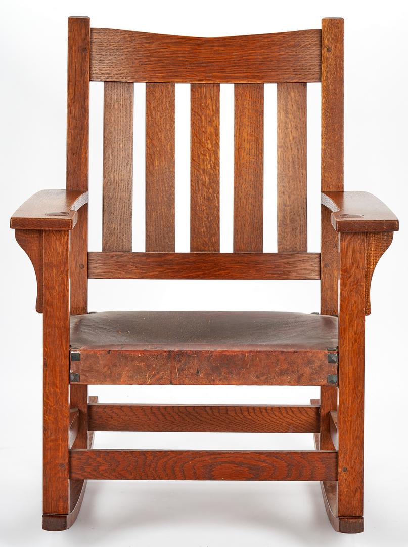 Lot 507: Gustav Stickley Arts & Crafts Oak Rocking Chair