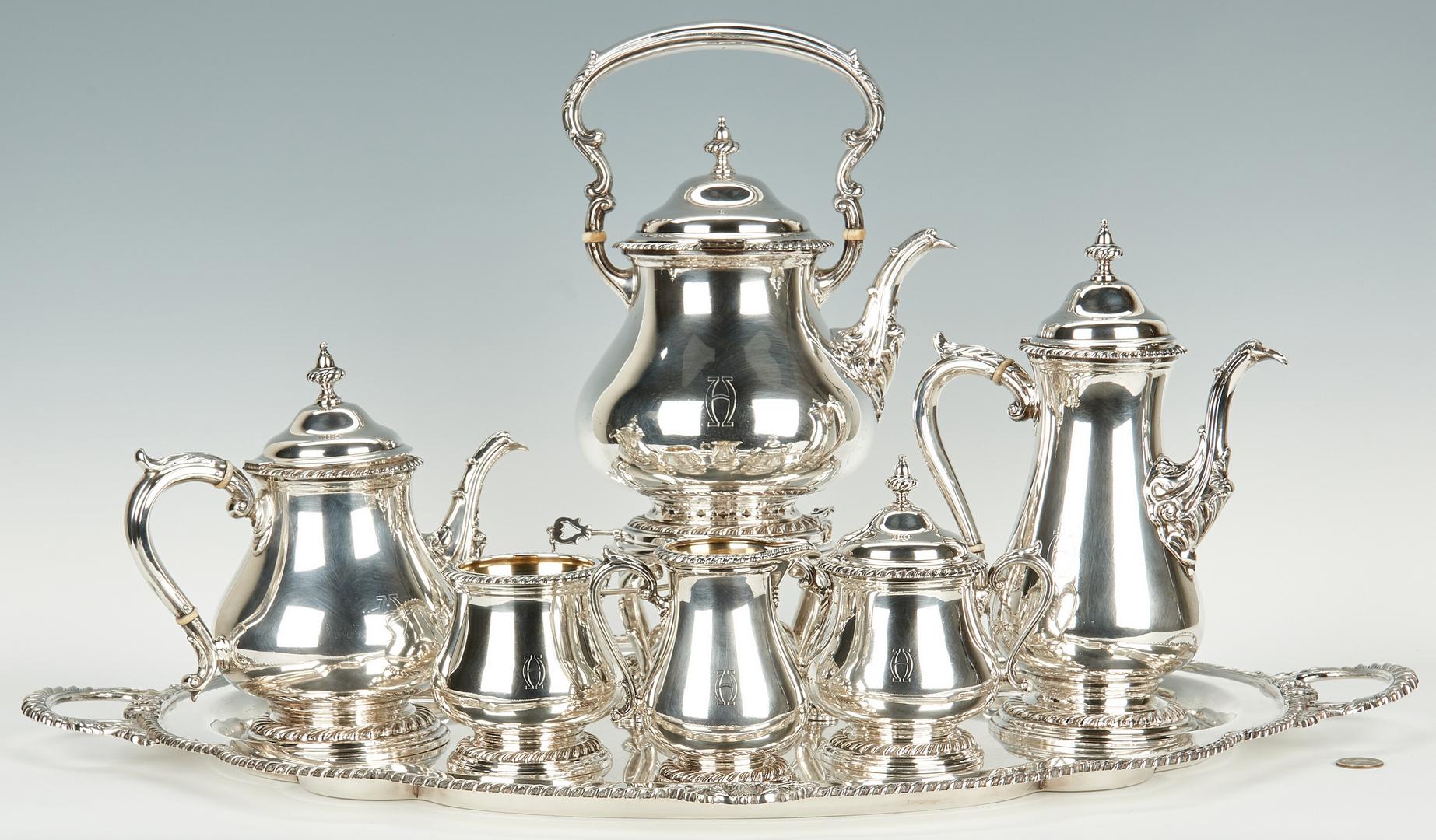 Lot 50: Shreve & Co. Sterling Tea Set w/ Tray, 7 pcs