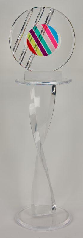 Lot 511: Shlomi Haziza Lucite Sculpture & Pedestal Stand