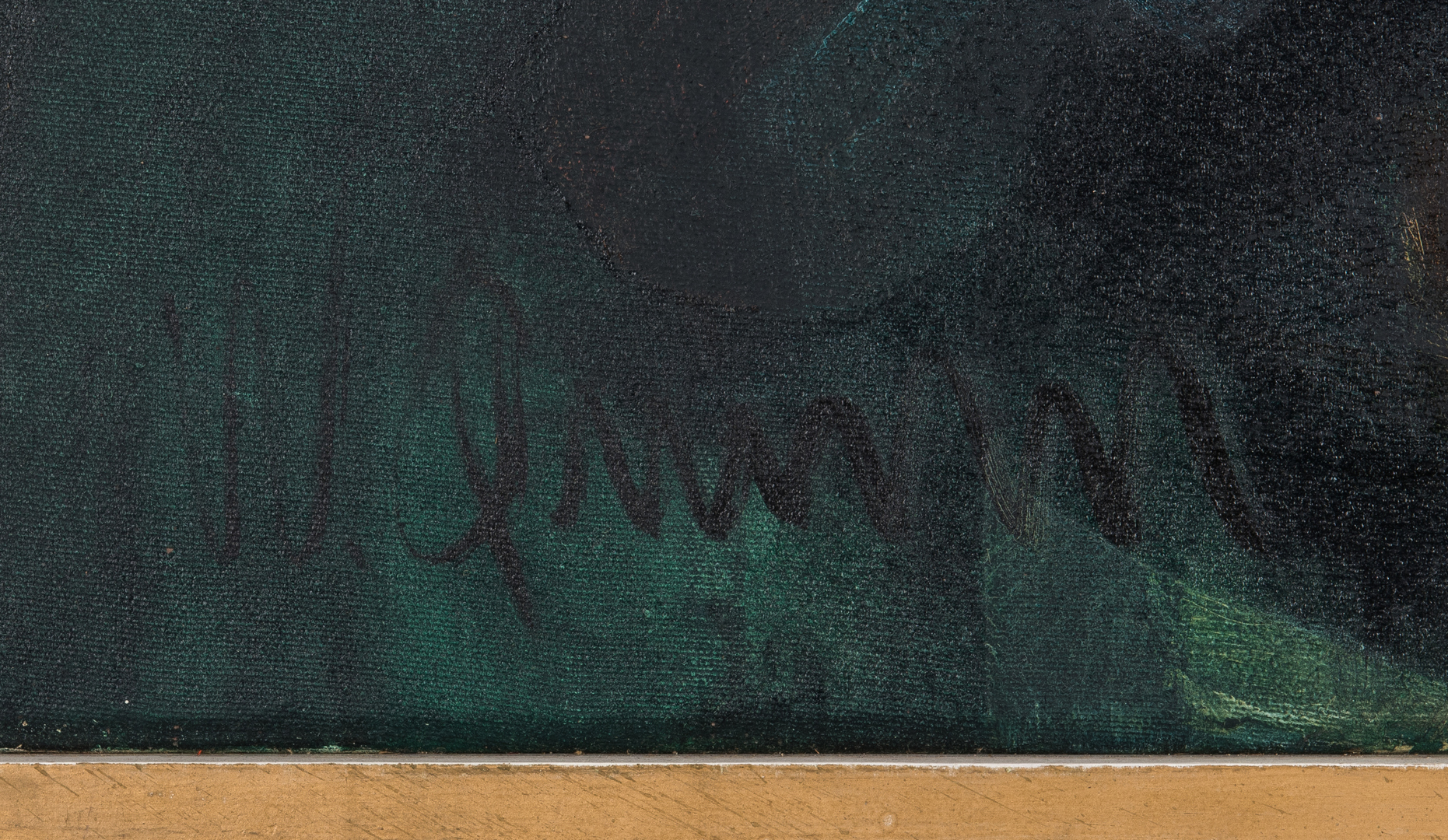Lot 514: William Quinn O/C Abstract Painting, The Cat Takes a Bird