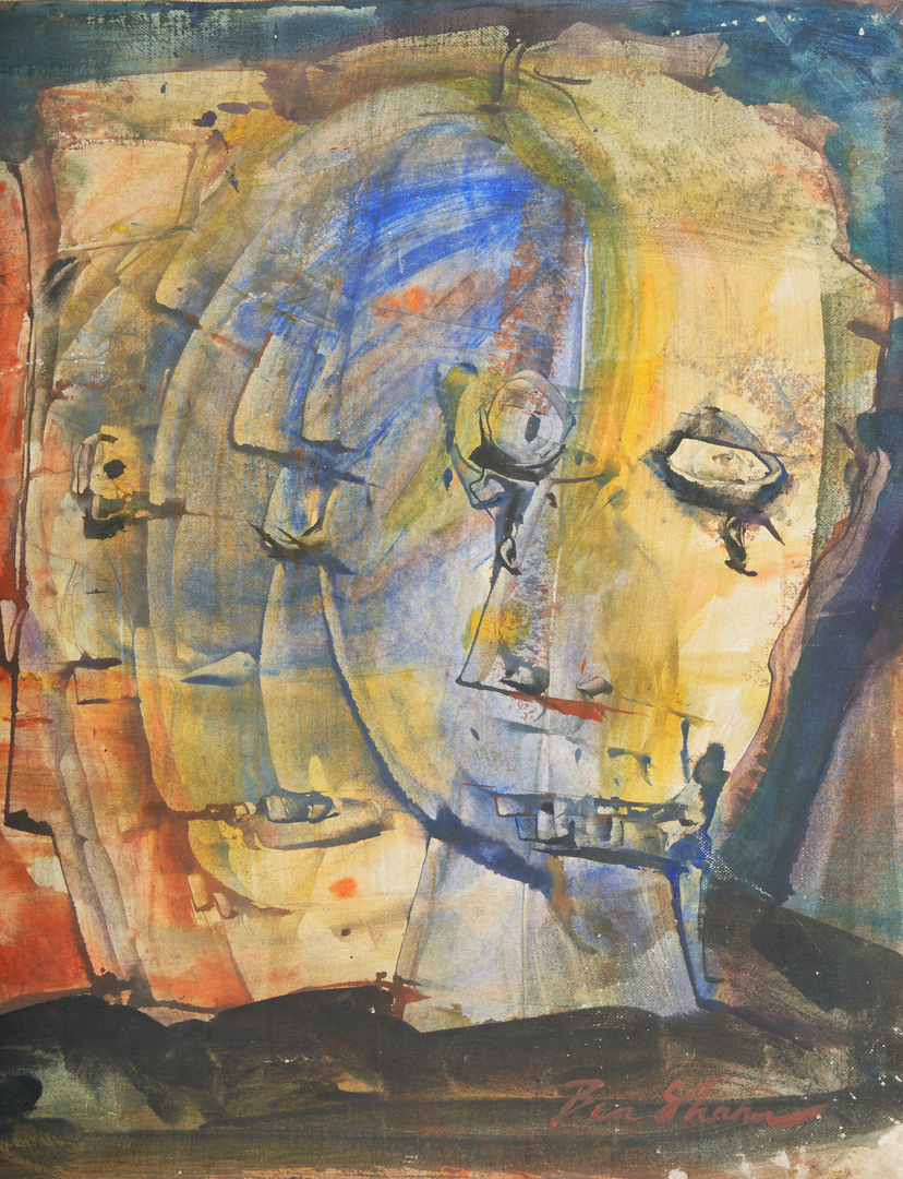Lot 515: Ben Shahn Abstract Painting of Faces