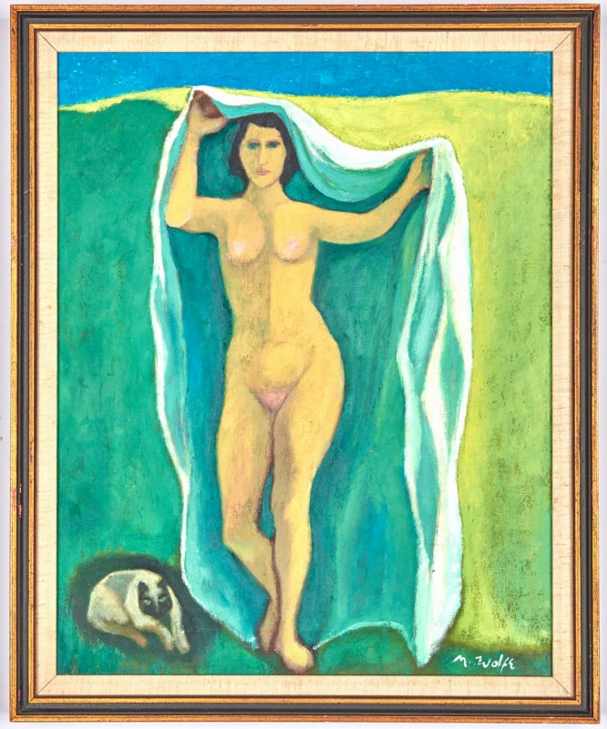 Lot 517: Meyer Wolfe O/C, Nude with Siamese Cat