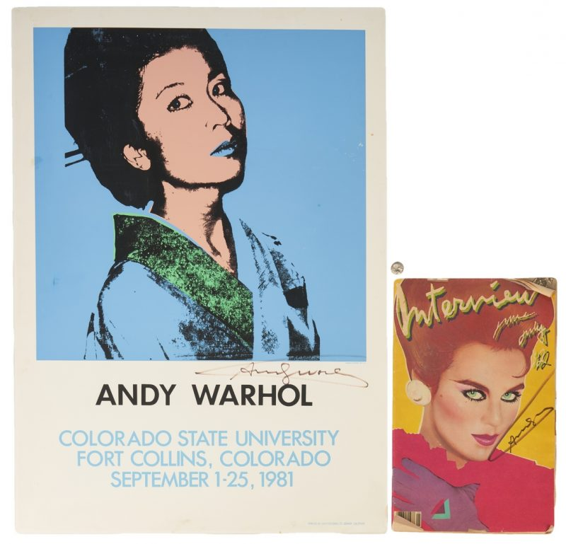 Lot 526: Andy Warhol Poster & Interview Magazine
