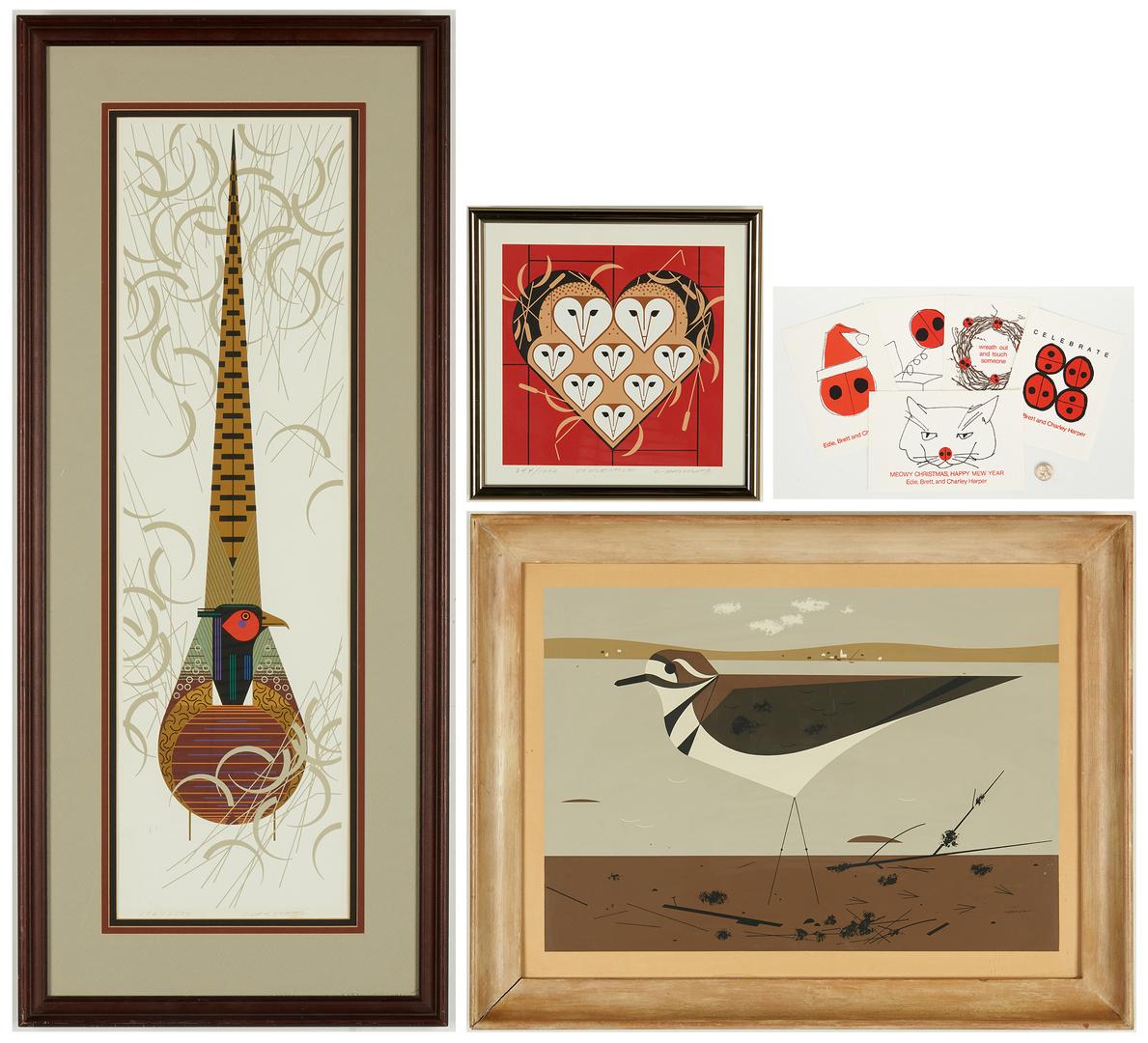Lot 529: 3 Charley Harper Serigraphs & 5 Christmas Cards