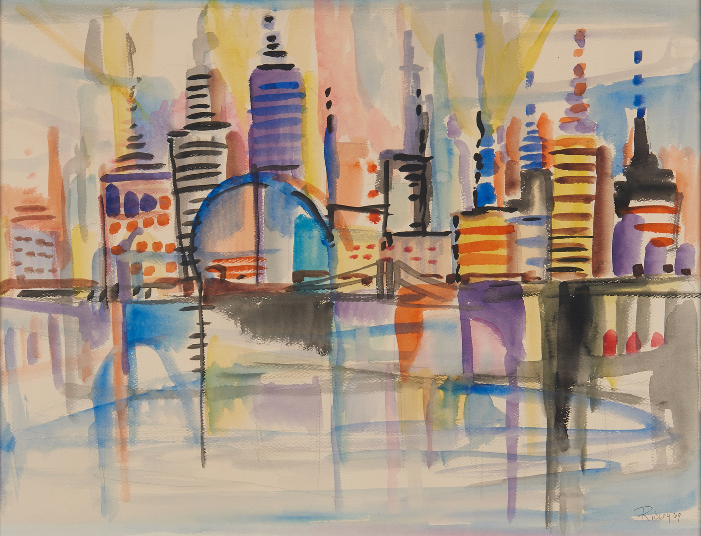 Lot 536: Greg Ridley Watercolor, Cityscape