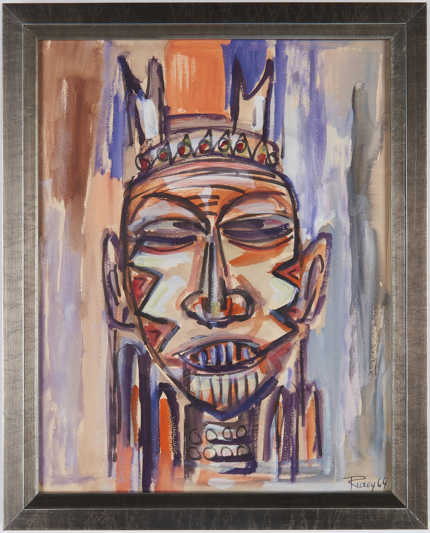 Lot 537: Greg Ridley Watercolor Painting, Mask