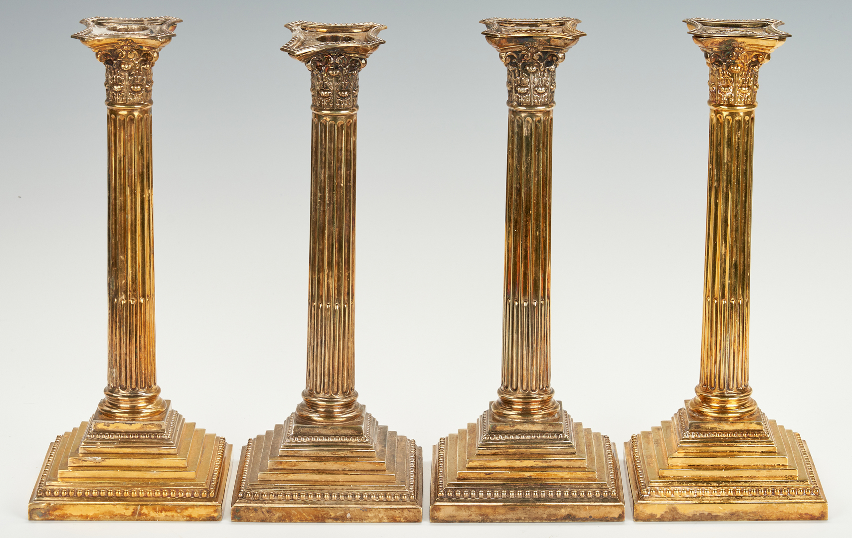 Lot 53: 4 Gilt Sterling Candlesticks, Tiffany retailed