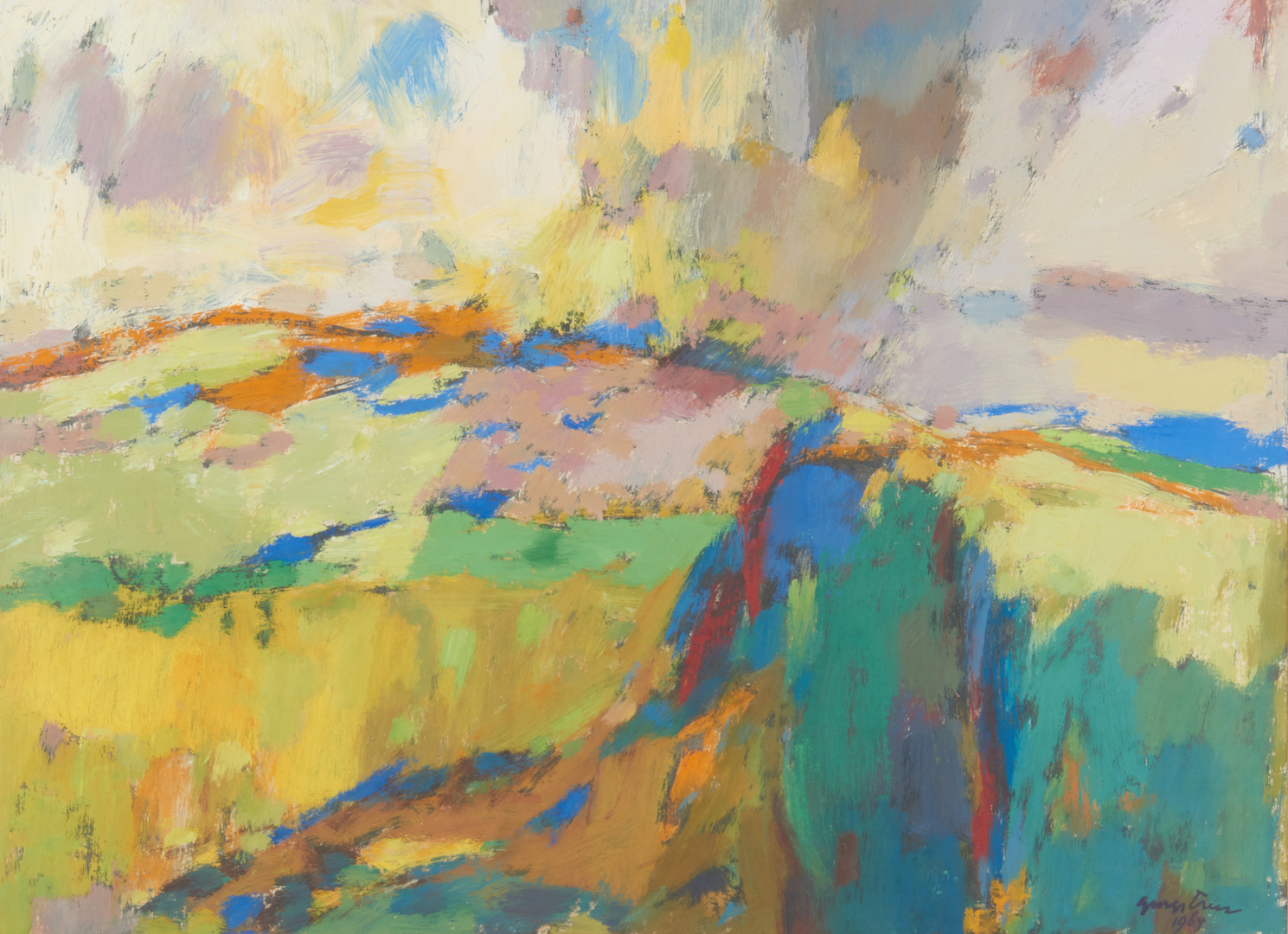 Lot 540: George Cress Oil on Paper, Expressionist Landscape