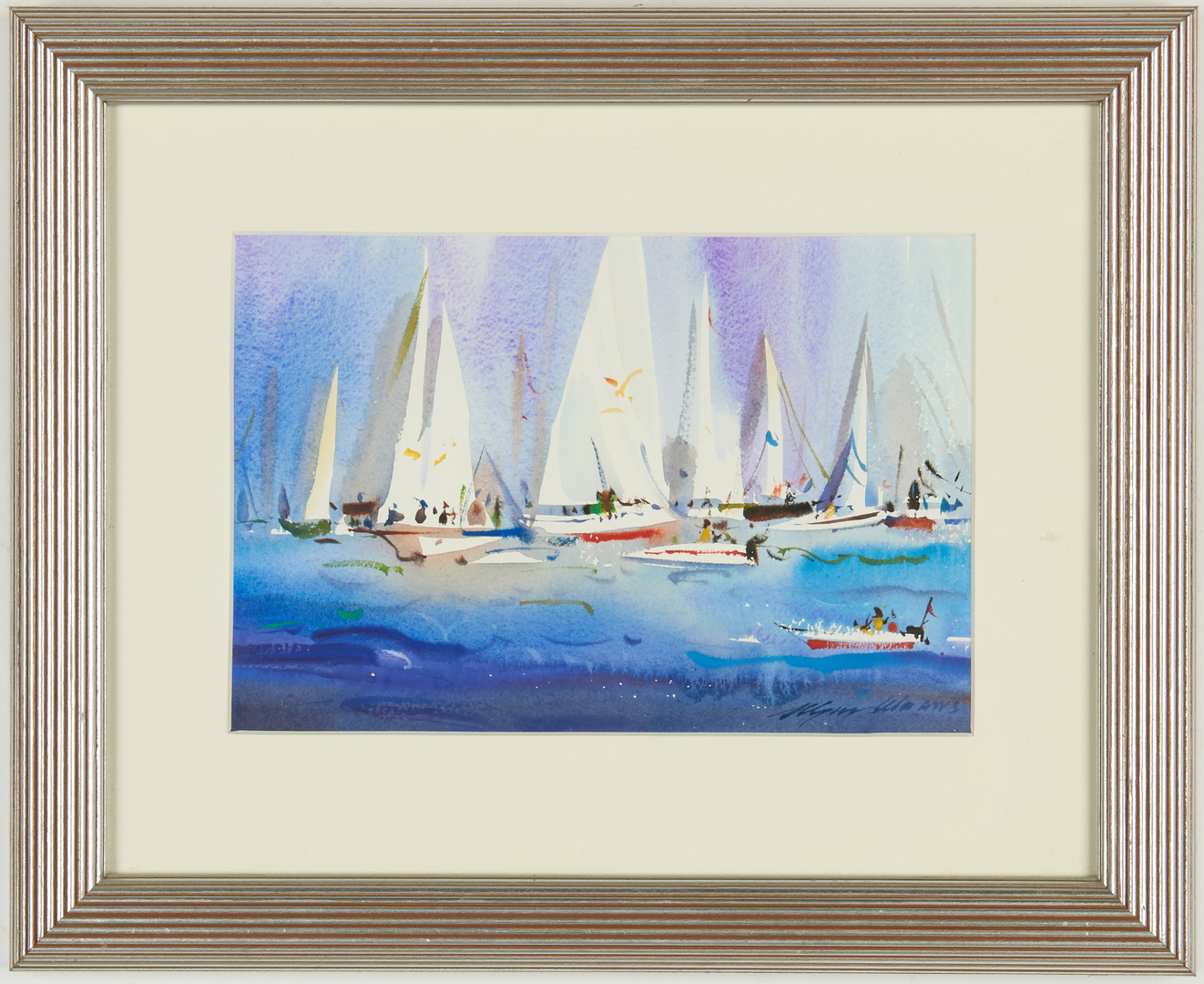 Lot 542: 2 Wayne Wu Abstract Maritime Watercolor Paintings