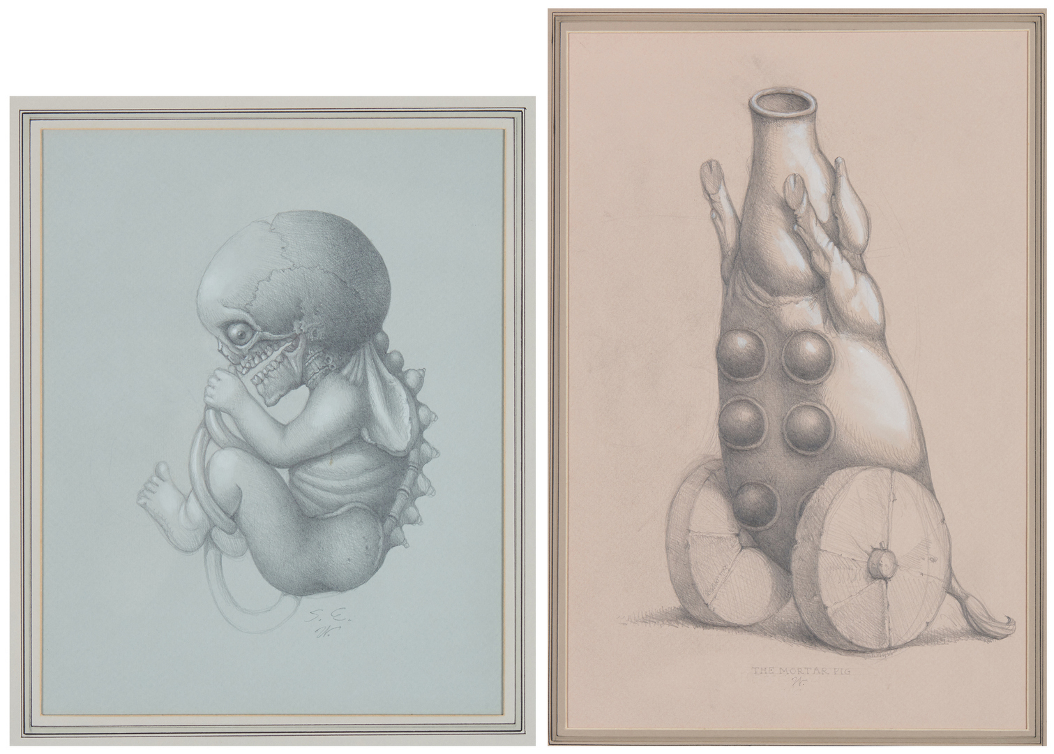 Lot 544: 2 Werner Wildner Surrealist Drawings