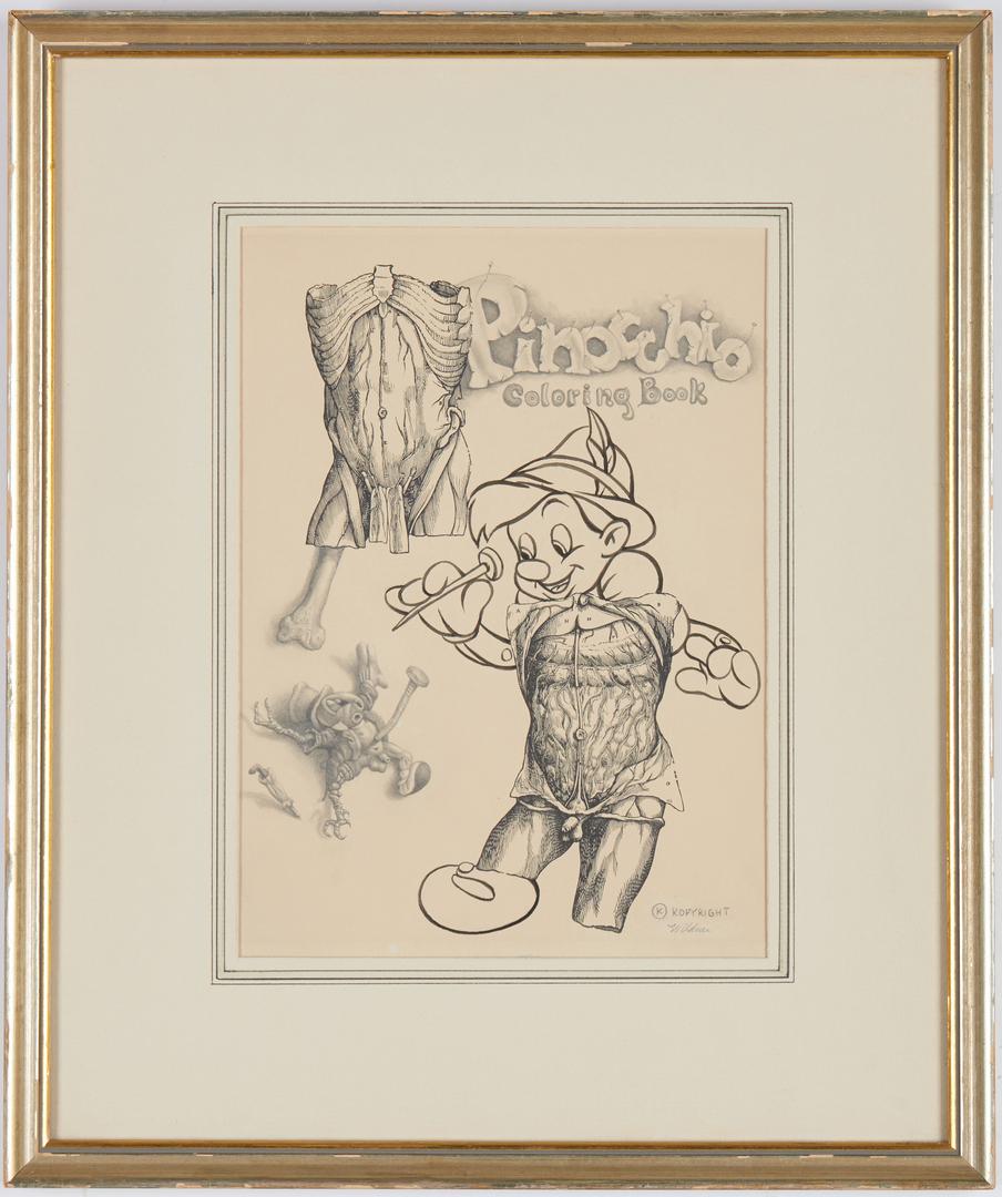 Lot 545: Werner Wildner Surrealist Drawing, Pinocchio
