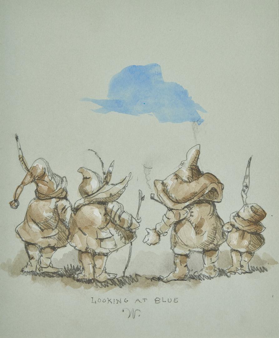 "Lot 546: Werner Wildner Watercolor, ""Looking at Blue"""
