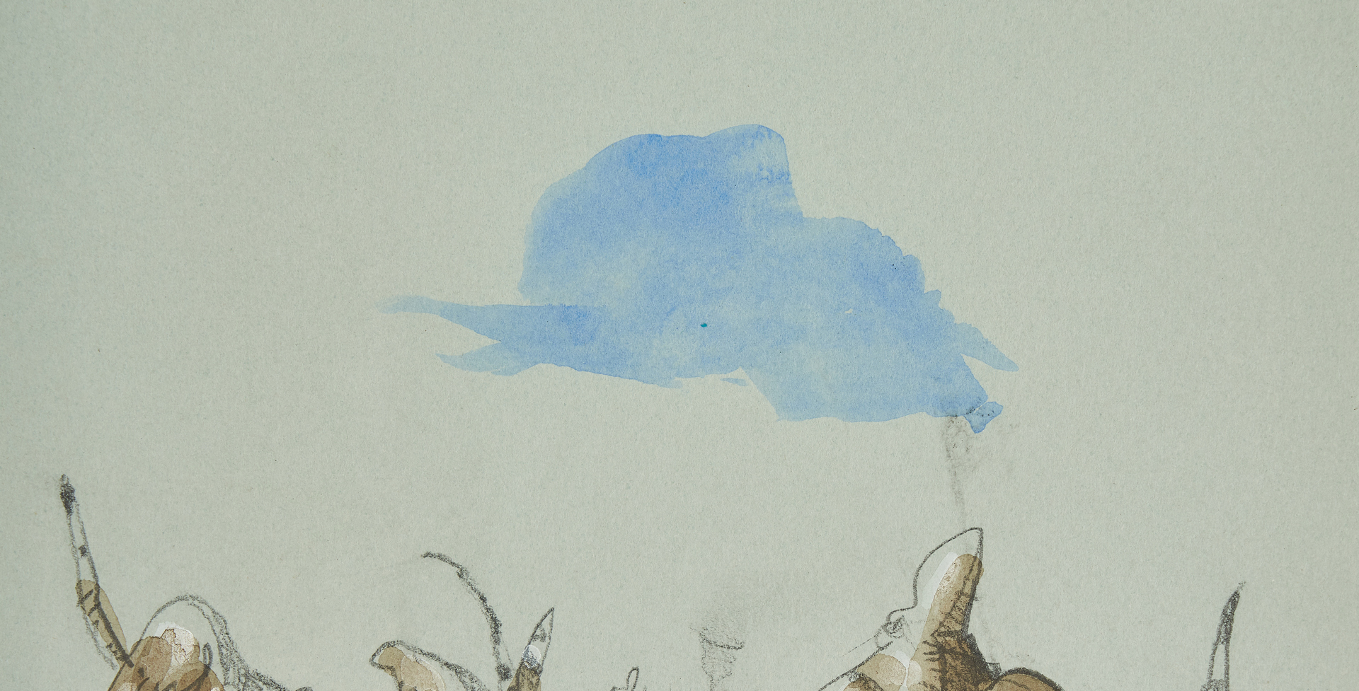 "Lot 546: Werner Wildner Watercolor, ""Looking at Blue"""
