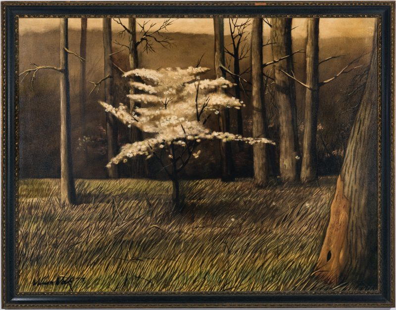 Lot 548: William Wolk O/C, Landscape W/ Dogwood Tree