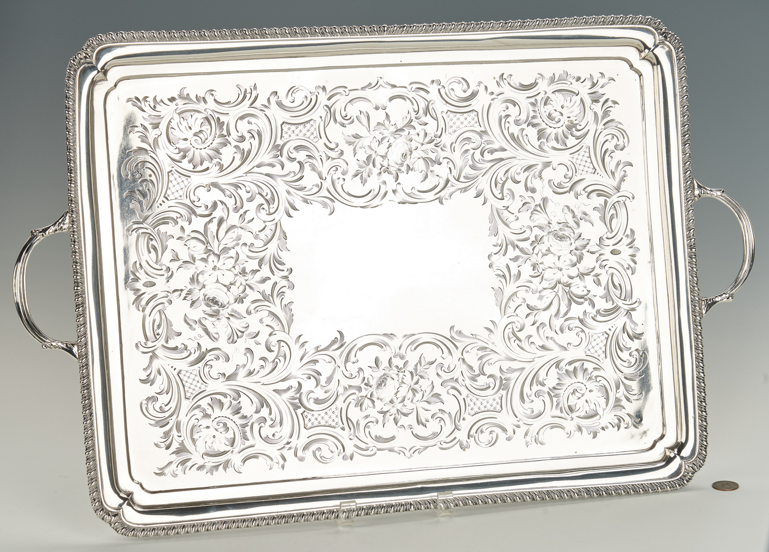 Lot 54: George III Sterling Silver Tray, 1762, Daniel Smith & Robert Sharp