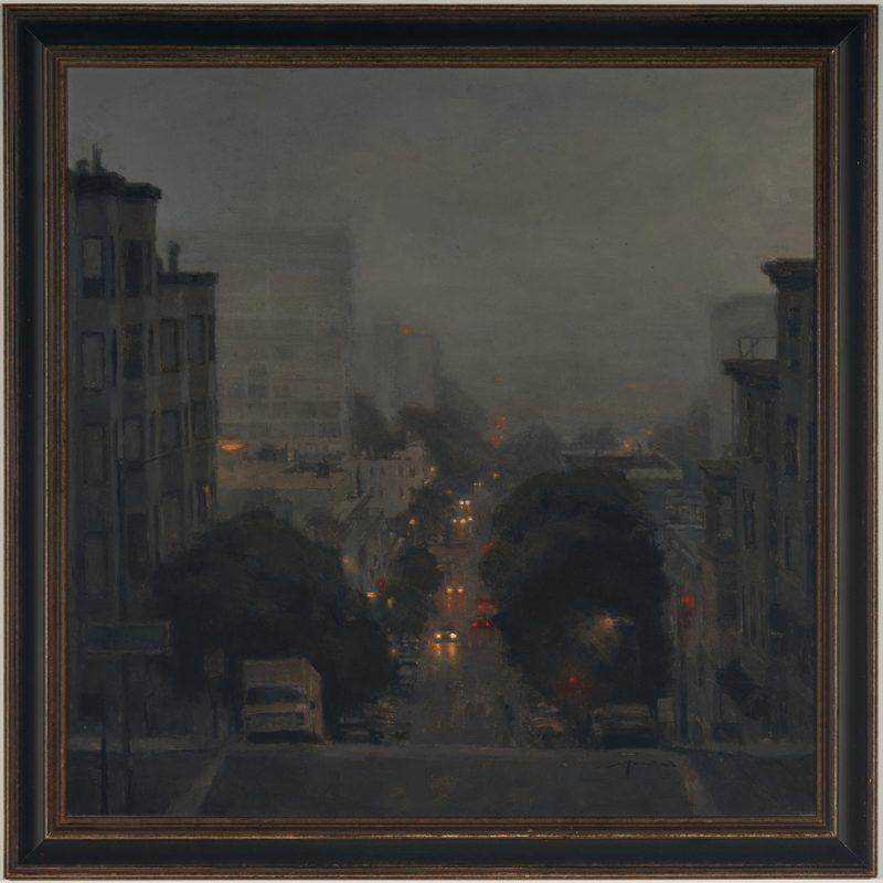 Lot 550: Jeremy Mann Oil, Laguna Street at Night