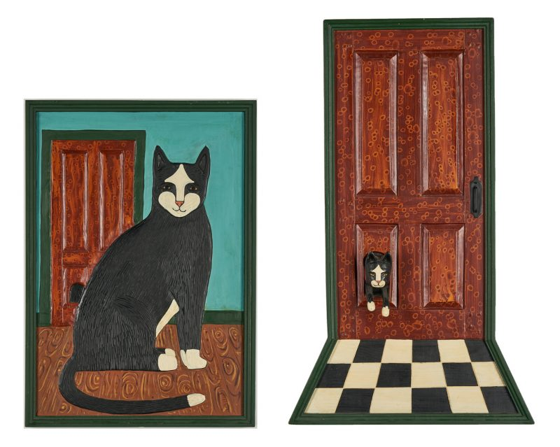 Lot 551: 2 Stephen Huneck Cat paintings