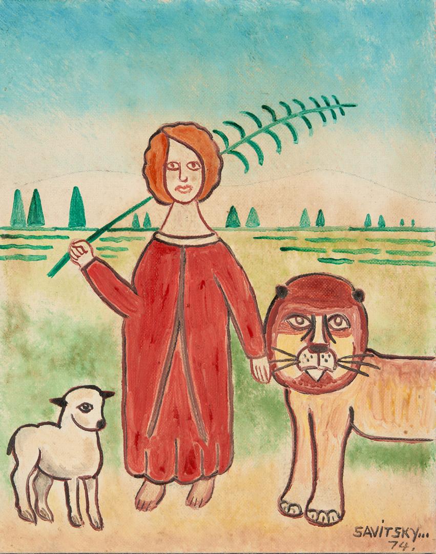 Lot 552: Jack Savitsky Painting, Lion and Lamb
