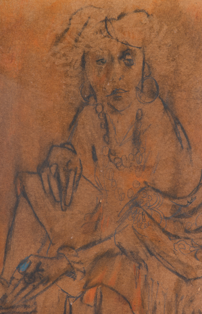 Lot 553: Zero Mostel Graphite & Pastel Drawing, Seated Woman