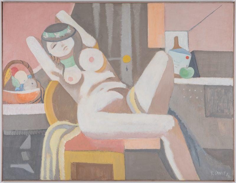 Lot 557: R. Casper O/C Cubist Painting, Female Nude