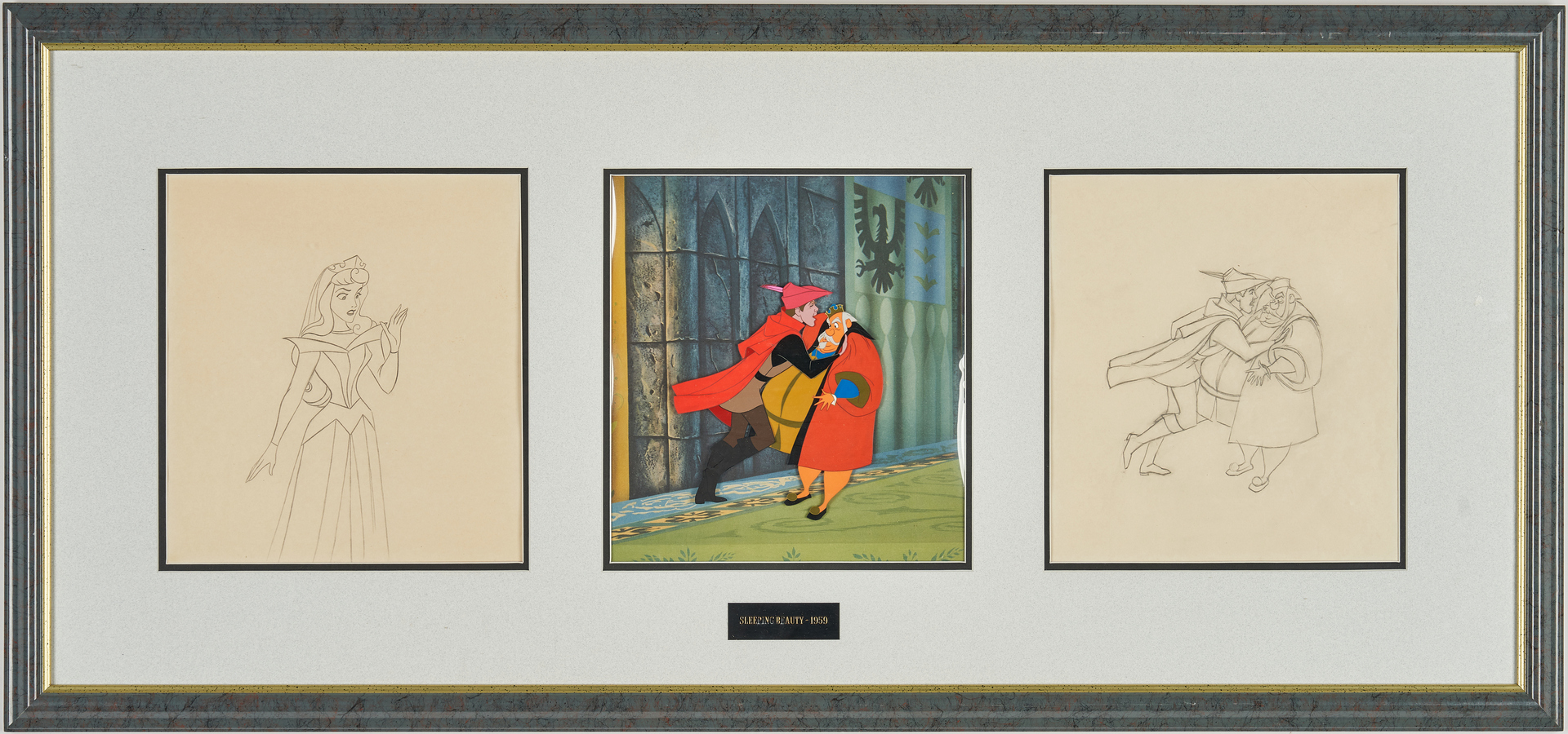 Lot 558: Sleeping Beauty Cel and 2 Drawings, Framed Together