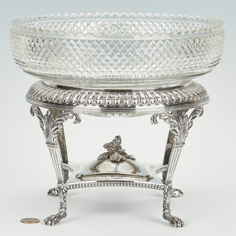 Lot 55: Emes & Barnard Georgian Sterling Centerpiece with Cut Glass Bowl