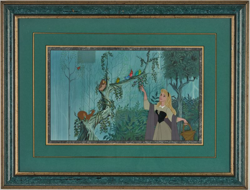 Lot 565: Sleeping Beauty Animation Cel, Briar Rose with Birds