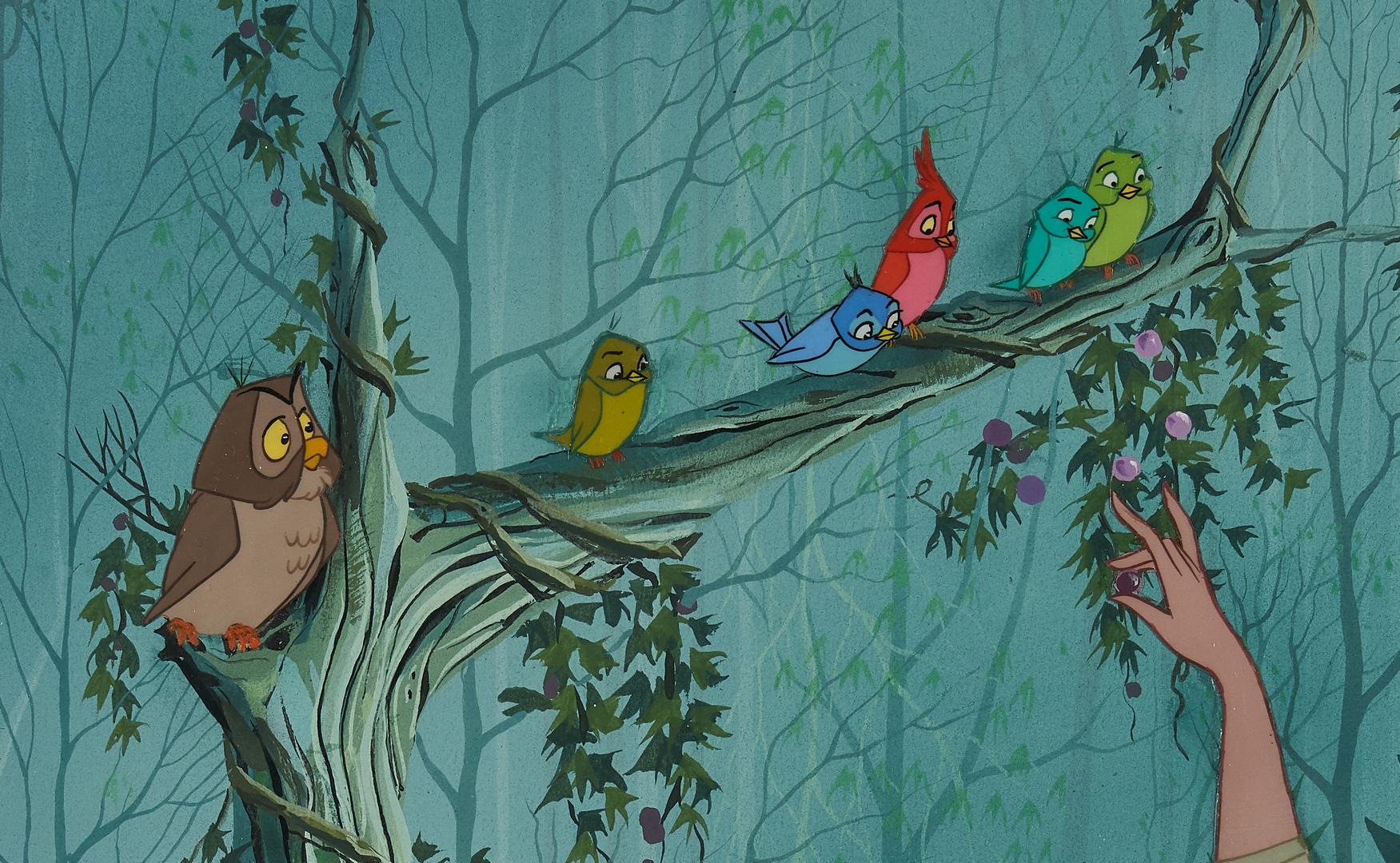 Lot 565: Sleeping Beauty Animation Cel, Briar Rose with Birds