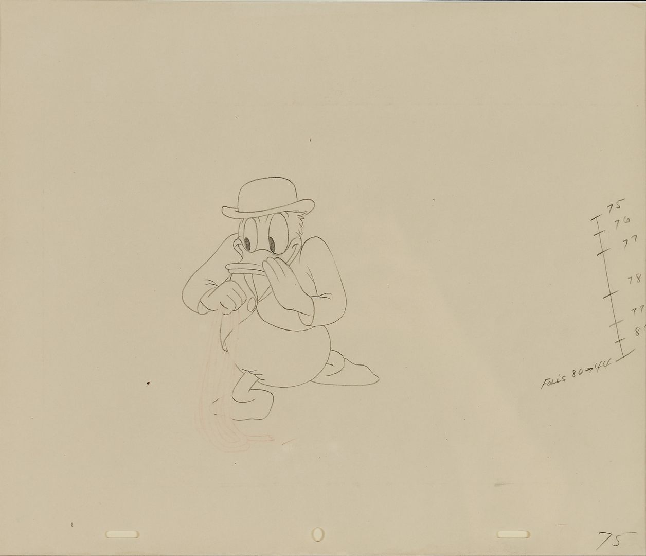 Lot 566: Disney Duck Animation Cel and Drawing