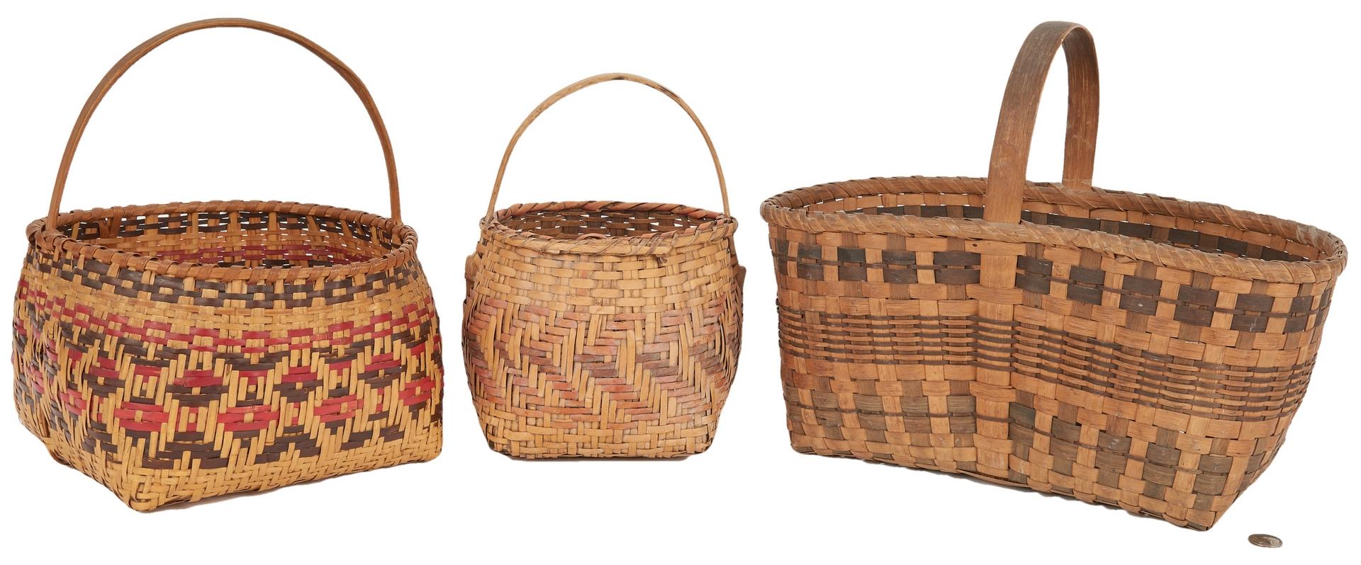Lot 585: 3 Cherokee Indian Baskets, Two Rivercane