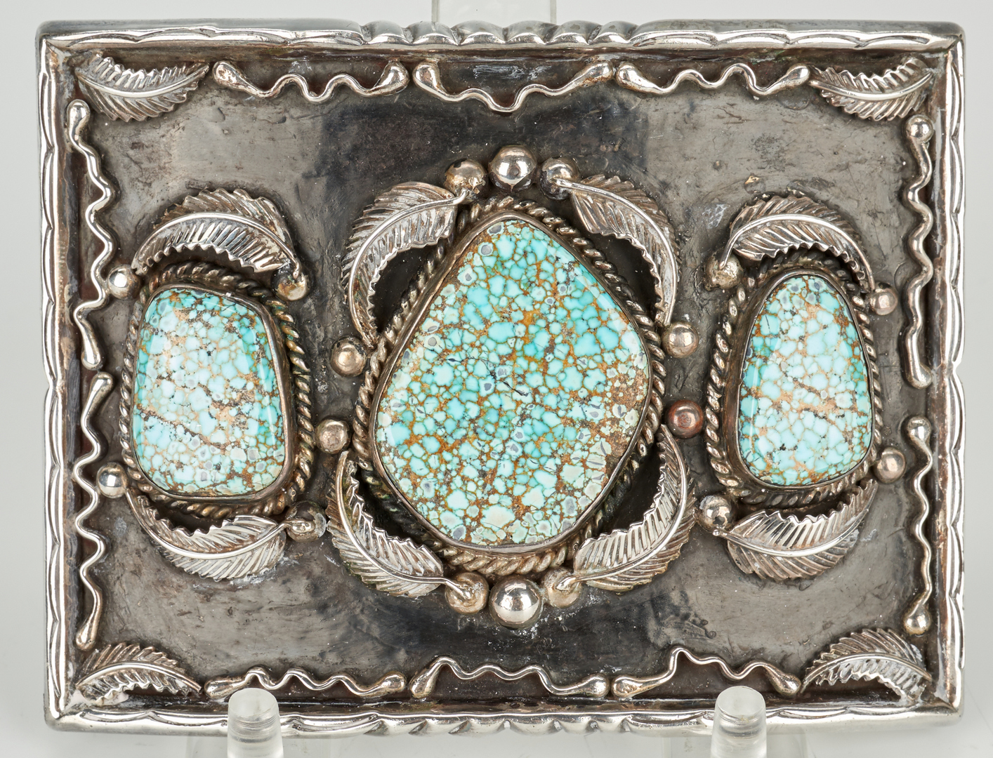 Lot 586: 3 Navajo Turquoise Jewelry Pcs., Paul Chee
