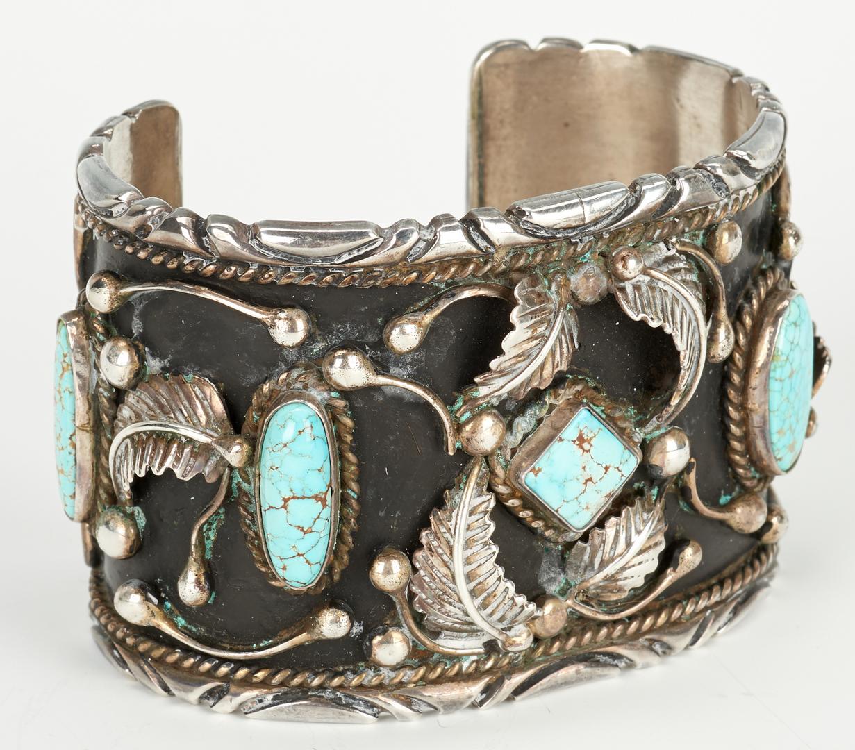 Lot 586: 3 Navajo Turquoise Jewelry Pcs., Paul Chee