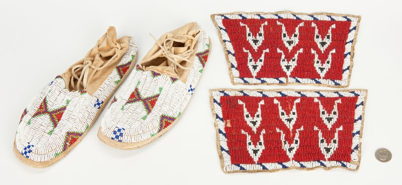 Lot 587: Pair of Sioux Beaded Moccasins and Plains Cuffs