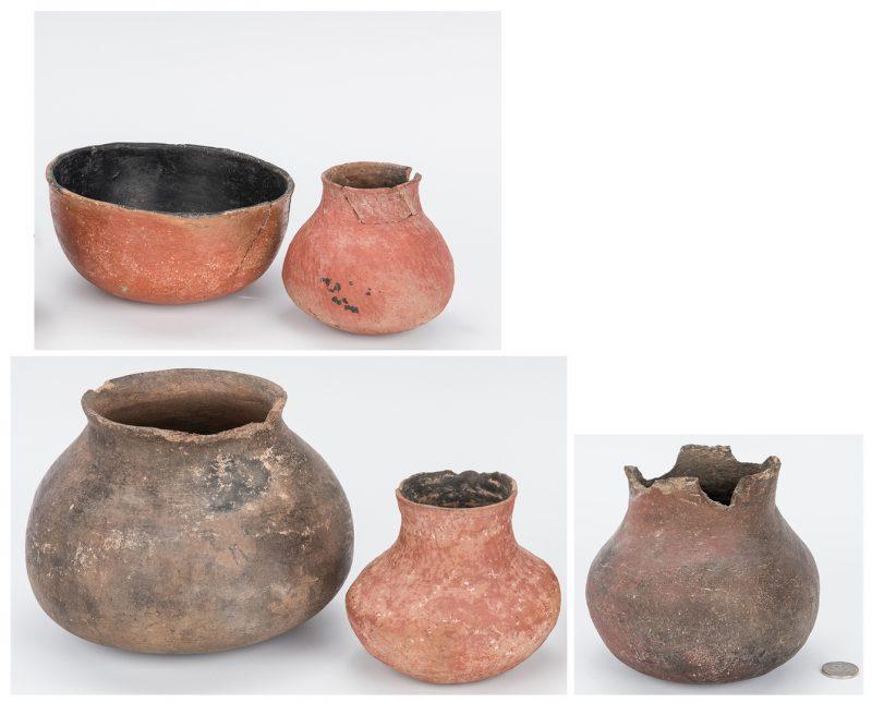 Lot 588: 5 Native American Pottery Pots, Salado & Gila Rive