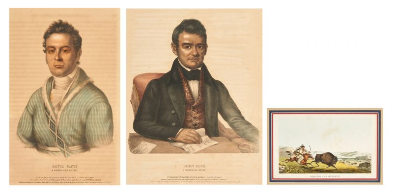 Lot 589: 3 McKenney & Hall Prints, Cherokee Chiefs and Buffalo Hunt