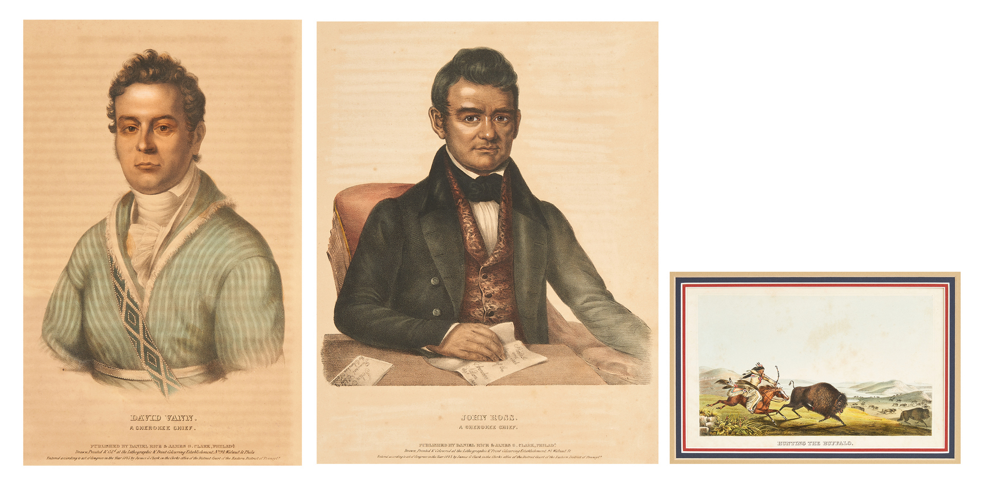 Lot 589: 3 McKenney & Hall Prints, Cherokee Chiefs and Buffalo Hunt