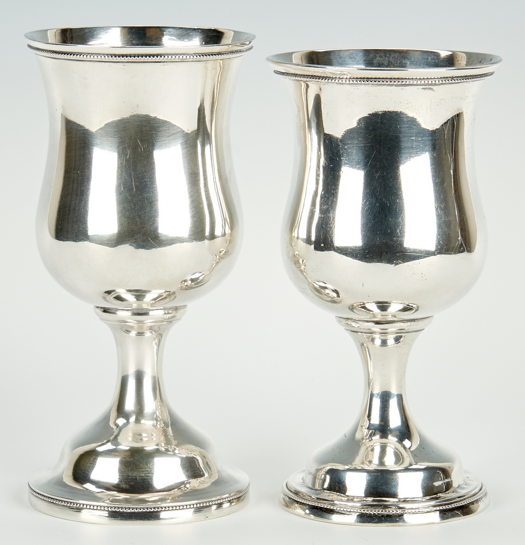 Lot 58: Pair Kitts KY Coin Silver Goblets