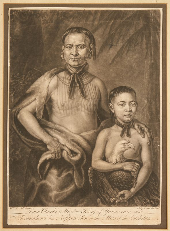 Lot 590: Colonial GA related print: Tomo Chachi Mico and his Nephew