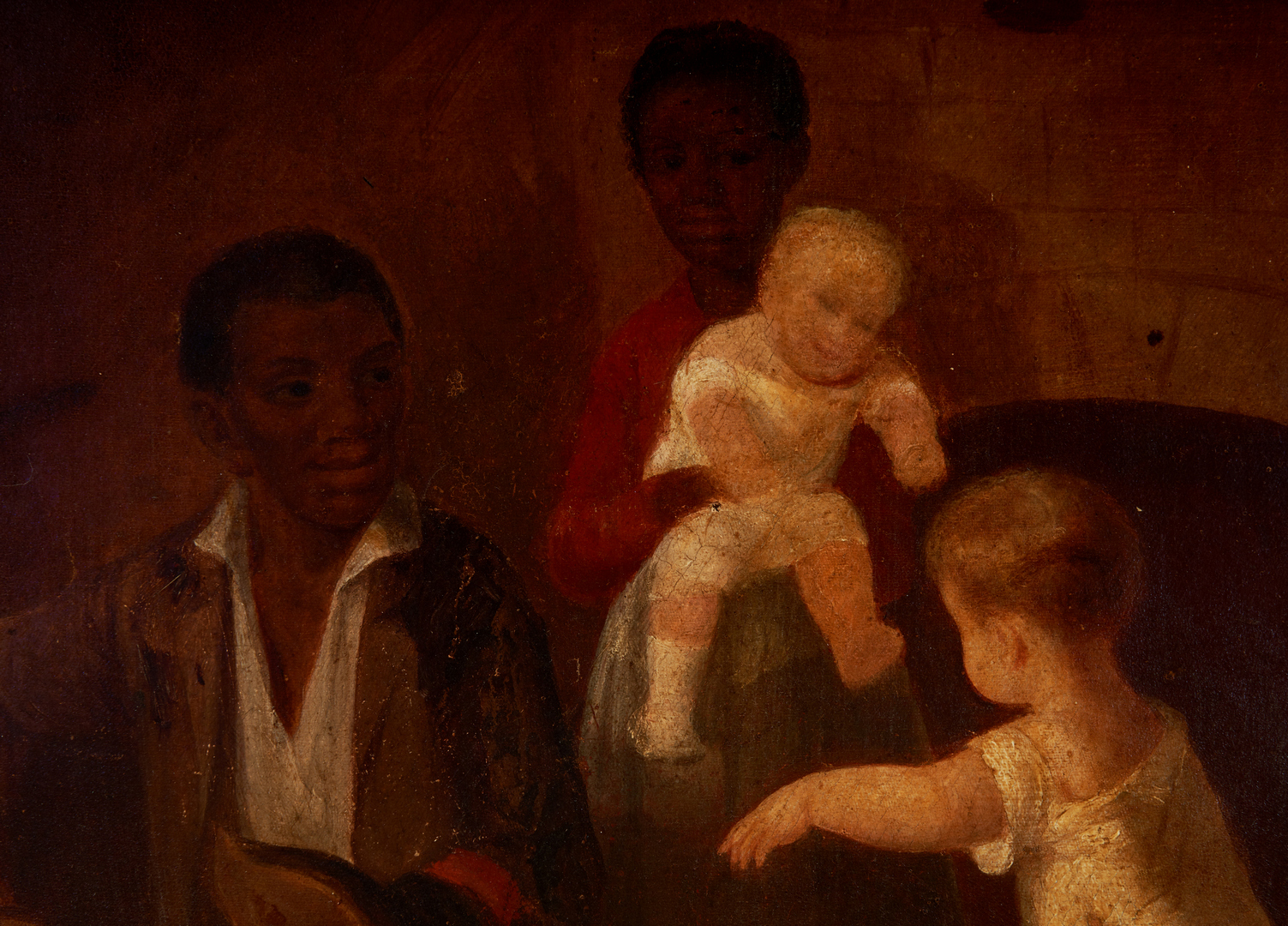 Lot 592: Painting of Black and White Children