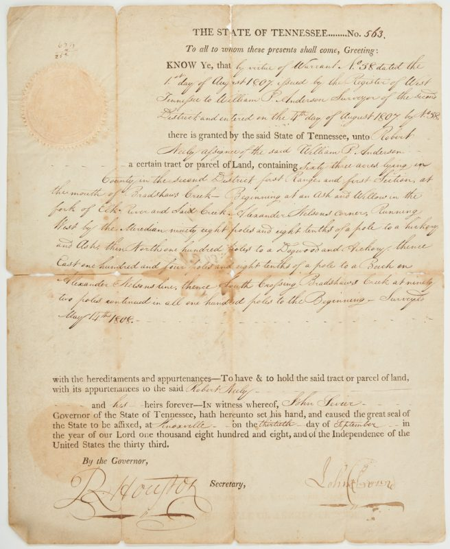 Lot 594: John Sevier Signed Land Grant, Maury Co. interest