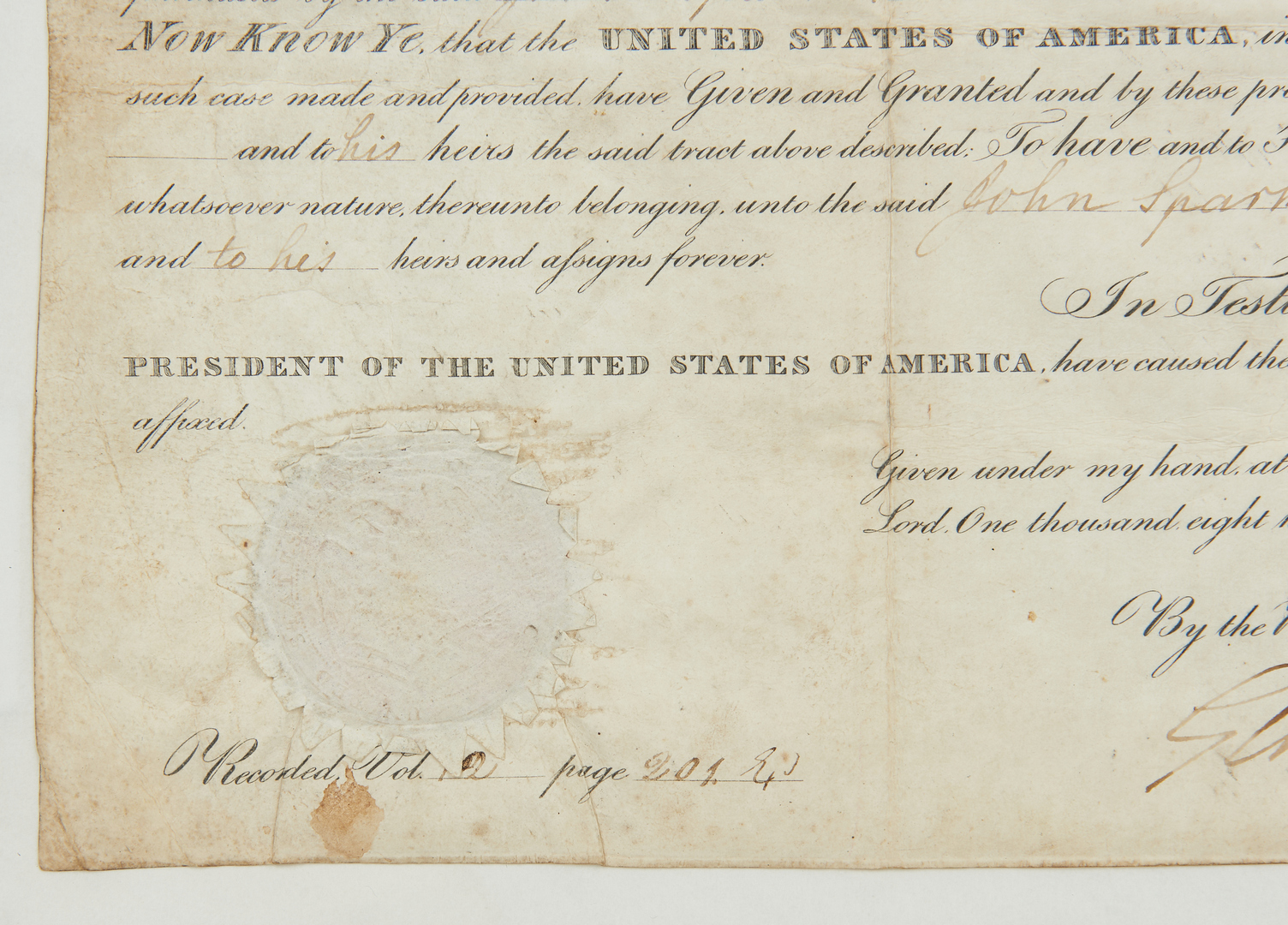Lot 595: J. Q. Adams Alabama land grant, Bible Sampler, & 2 Silhouettes