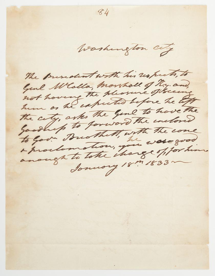 Lot 596: President Andrew Jackson letter, KY interest