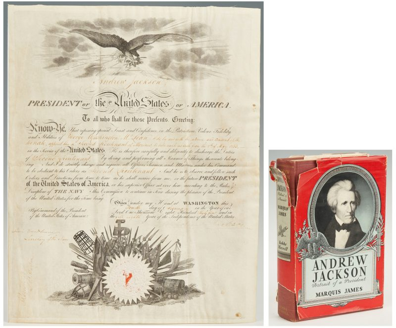 Lot 597: President Andrew Jackson Signed Military Commission + Jackson Book