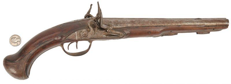 Lot 599: Double Barrel Holster Flintlock Pistol