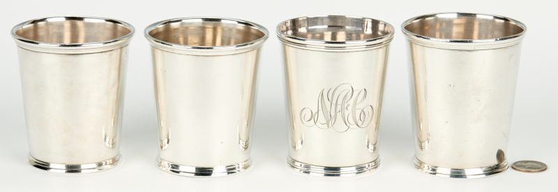 Lot 59: 4 Kentucky Akin Retailed Coin Silver Julep Cups