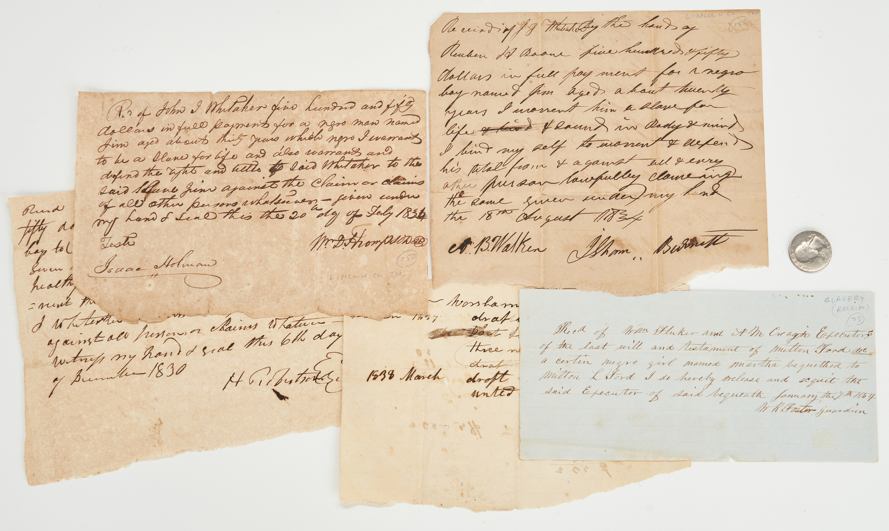 Lot 601: 5 Slave Documents including Tennessee