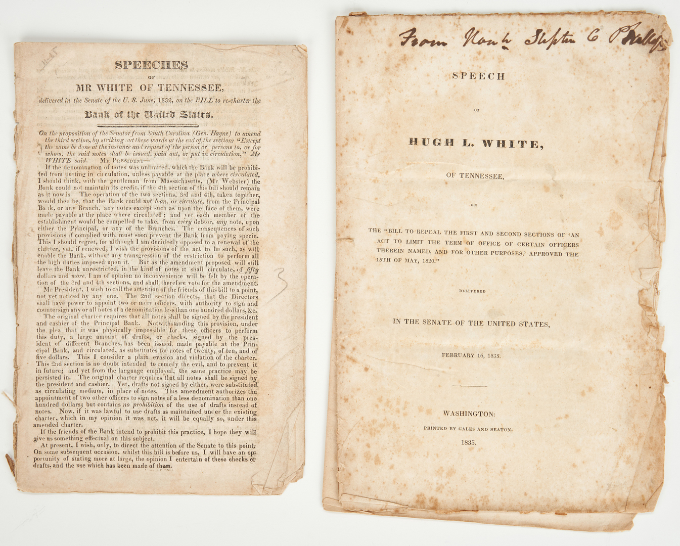 Lot 603: TN Documents including Hugh White, John Bell, and T. Arnold Speeches, plus McClung Signed Summons