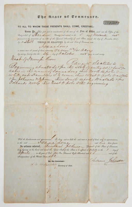 Lot 605: Andrew Johnson Signed Land Grant