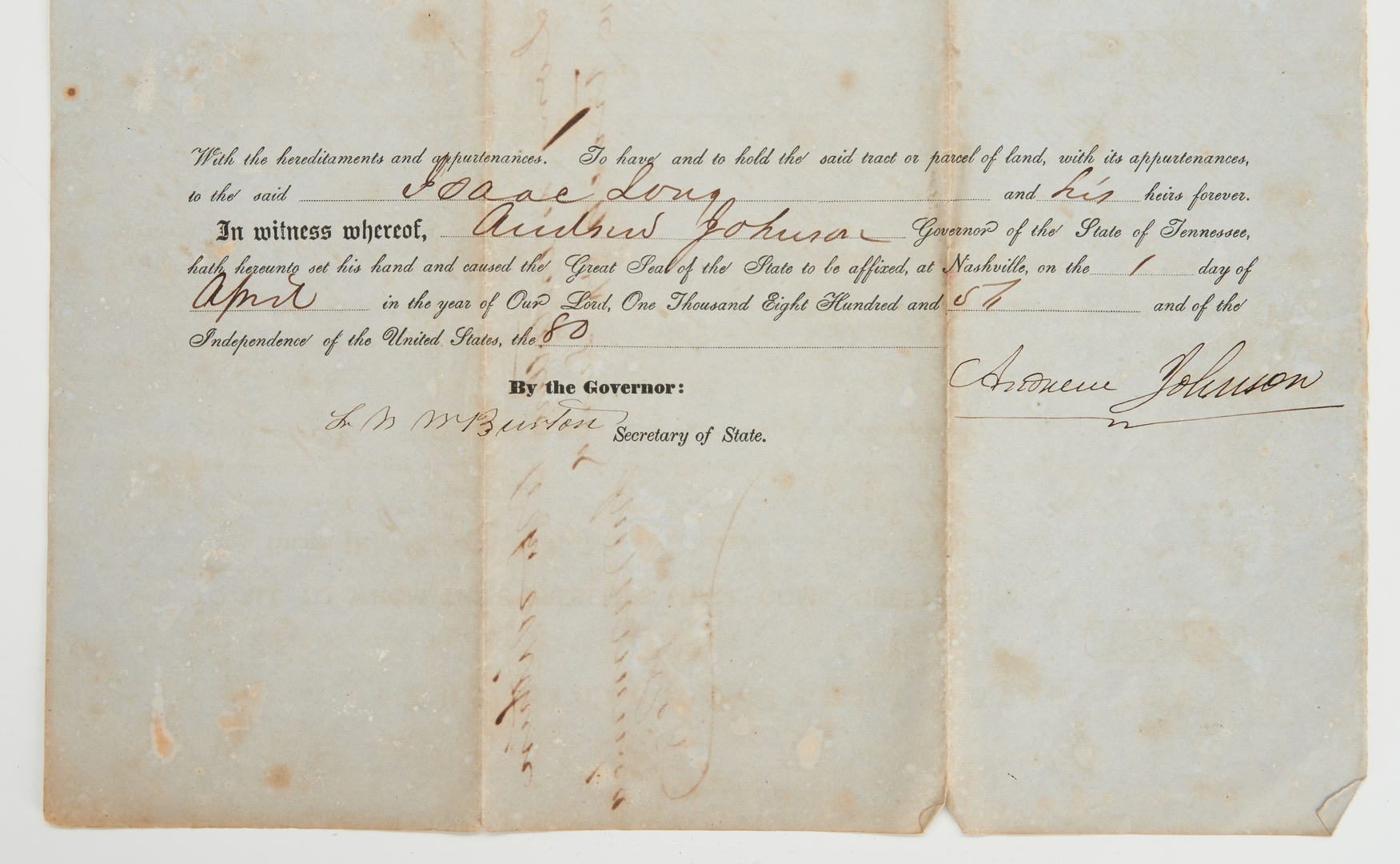 Lot 605: Andrew Johnson Signed Land Grant