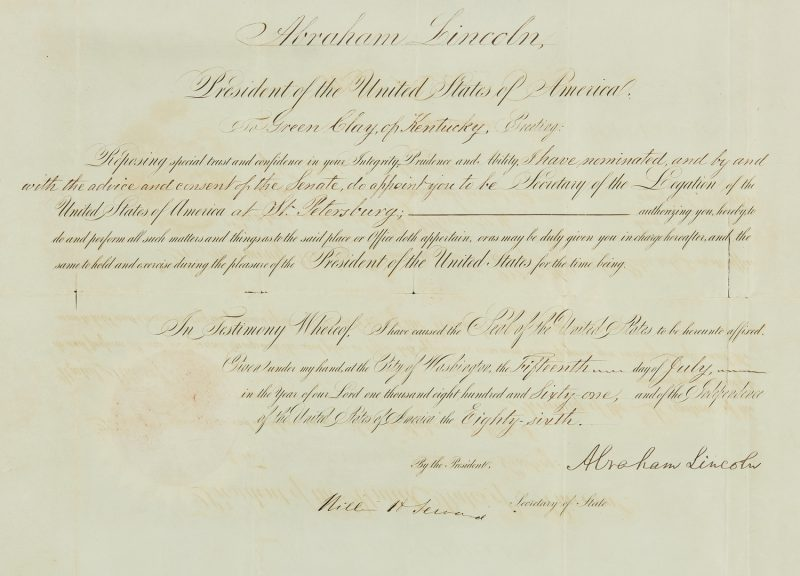 Lot 606: Abraham Lincoln signed 1861 Appointment, Green Clay of KY